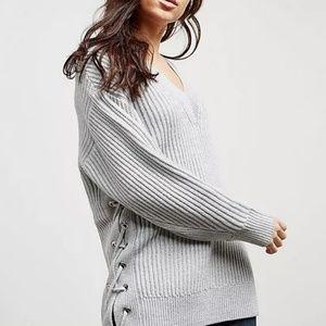 • rag & bone • Ivy Long Lace-Up V-Neck Sweater